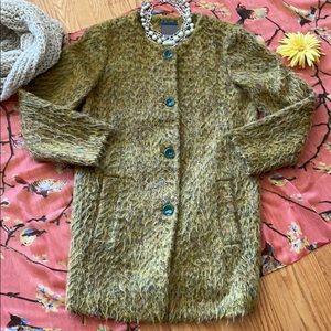 🌺 STUNNING Vintage Multi-Colored Wool Coat M-L!!